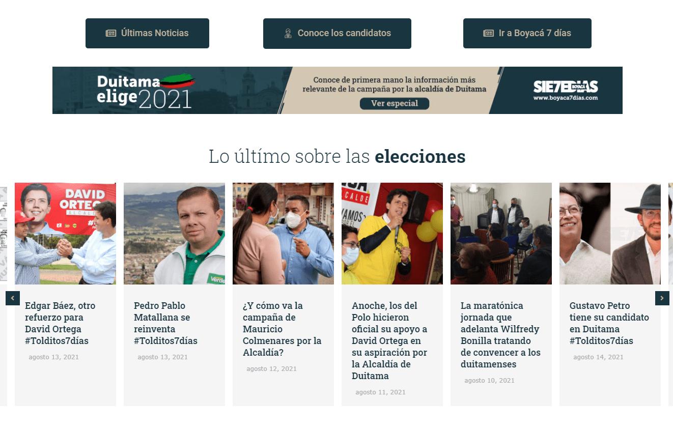 Este es el sitio web de las elecciones de la llamada Perla de Boyacá: #DuitamaElige2021 2