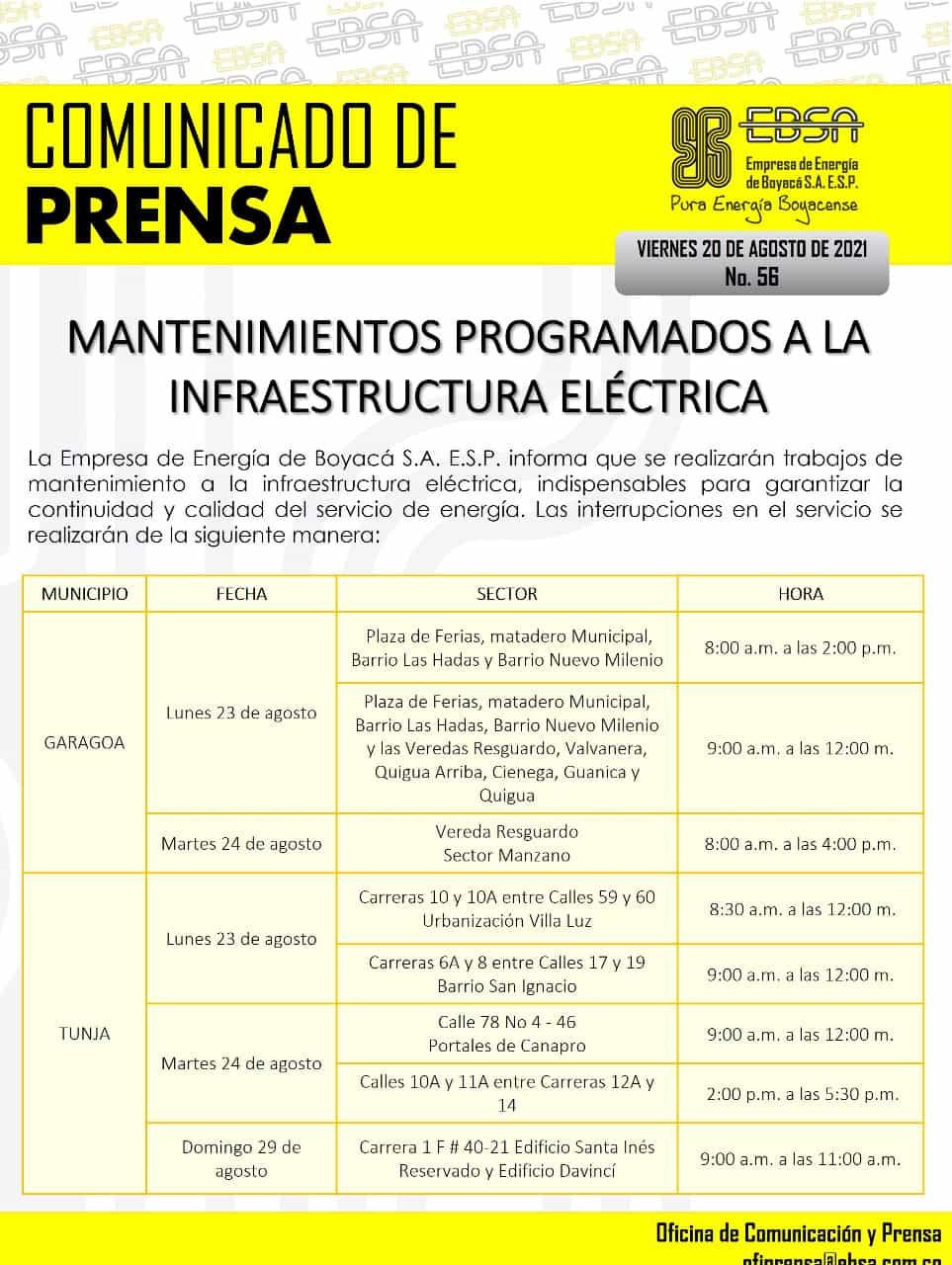 Mantenimientos programados a la infraestructura eléctrica en Boyacá para la siguiente semana 1