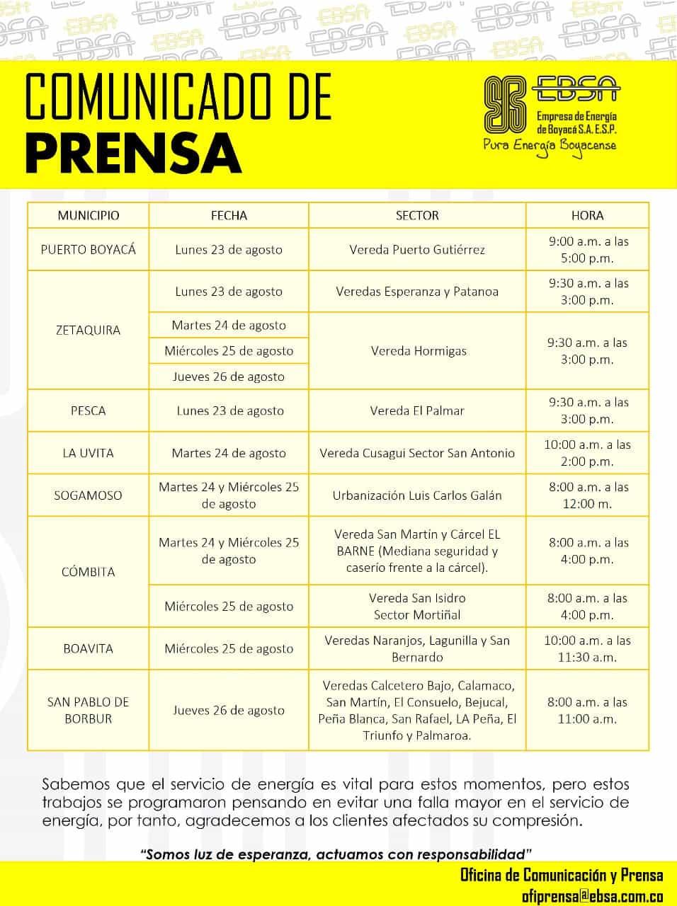 Mantenimientos programados a la infraestructura eléctrica en Boyacá para la siguiente semana 2