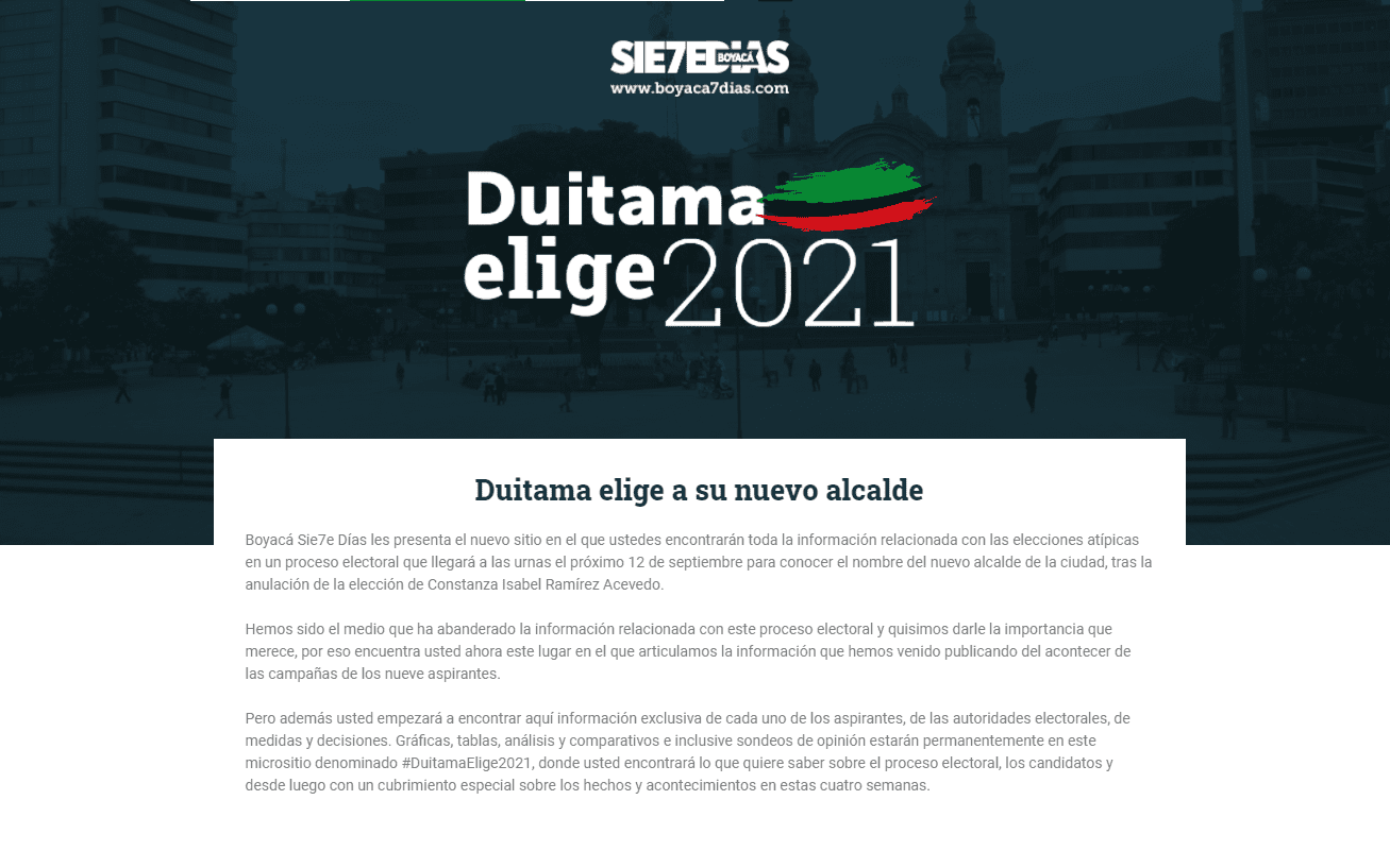 Este es el sitio web de las elecciones de la llamada Perla de Boyacá: #DuitamaElige2021 1
