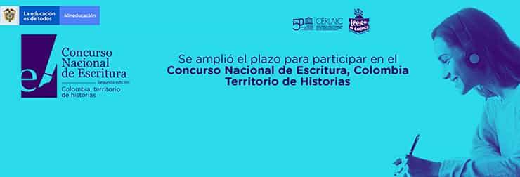 Hasta el 5 de septiembre se amplía la convocatoria del Concurso Nacional de Escritura, Colombia Territorio de Historias 2