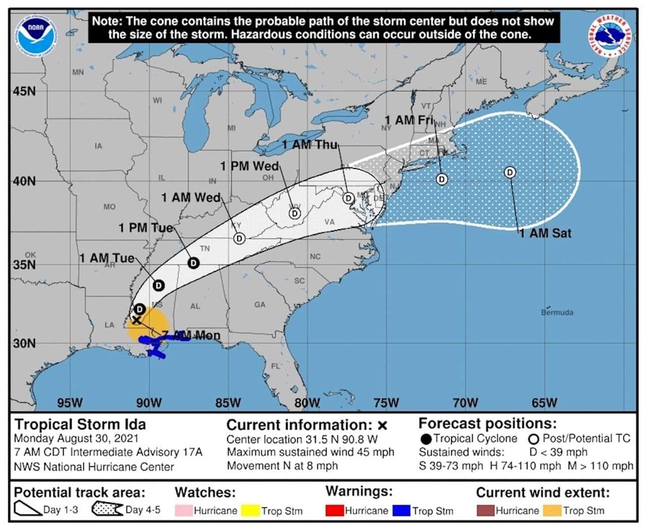 Ida mantiene el peligro como tormenta tropical tras devastar Luisiana 1