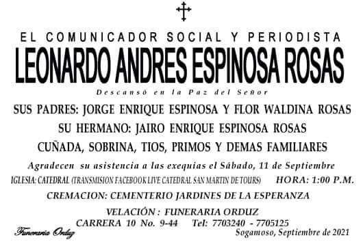 El periodismo boyacense está de luto por la muerte del comunicador social Leonardo Andrés Espinosa Rosas 1