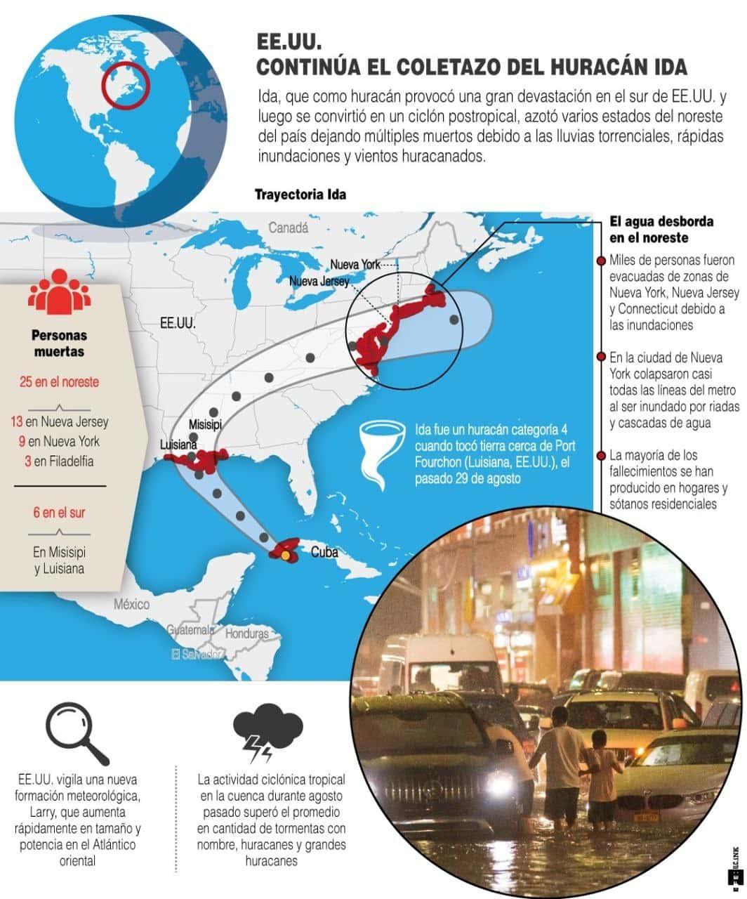 [Infografía] Ida deja al menos 25 muertos por inundaciones en el noreste de Estados Unidos 1